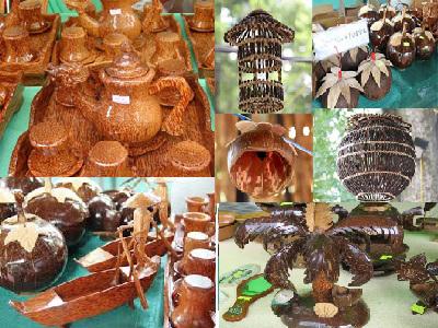 Một số sản phẩm thủ công mỹ nghệ từ dừa Cồn Phụng Bến Tre